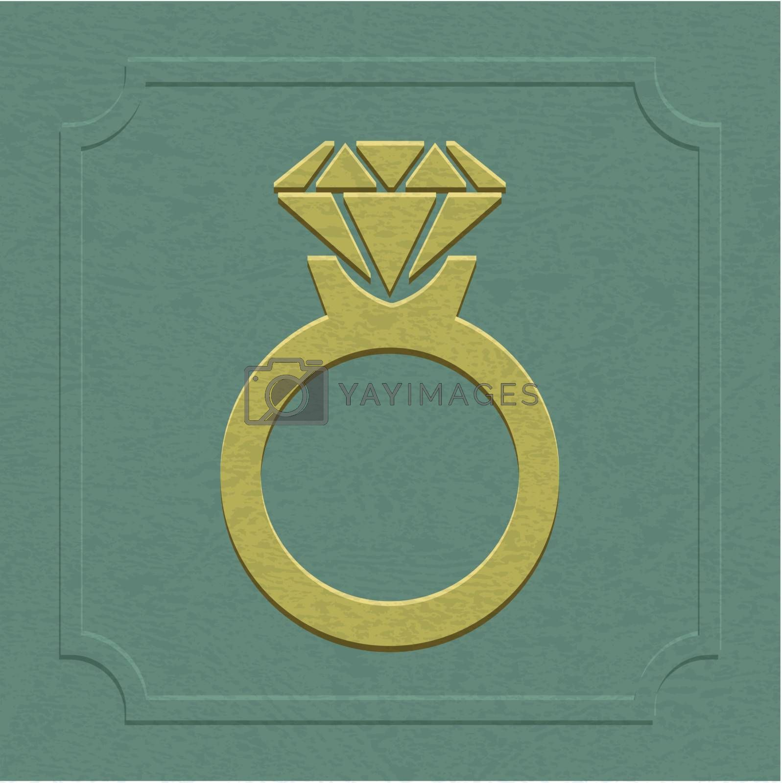 The embossed wedding or engagement ring symbol by nirots