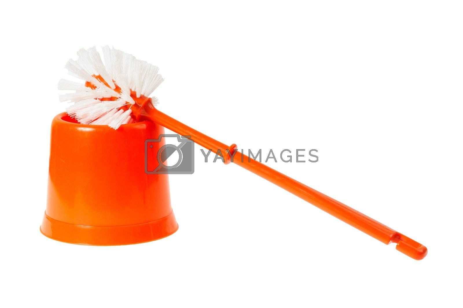 Toilet brush red color. Isolated on white background