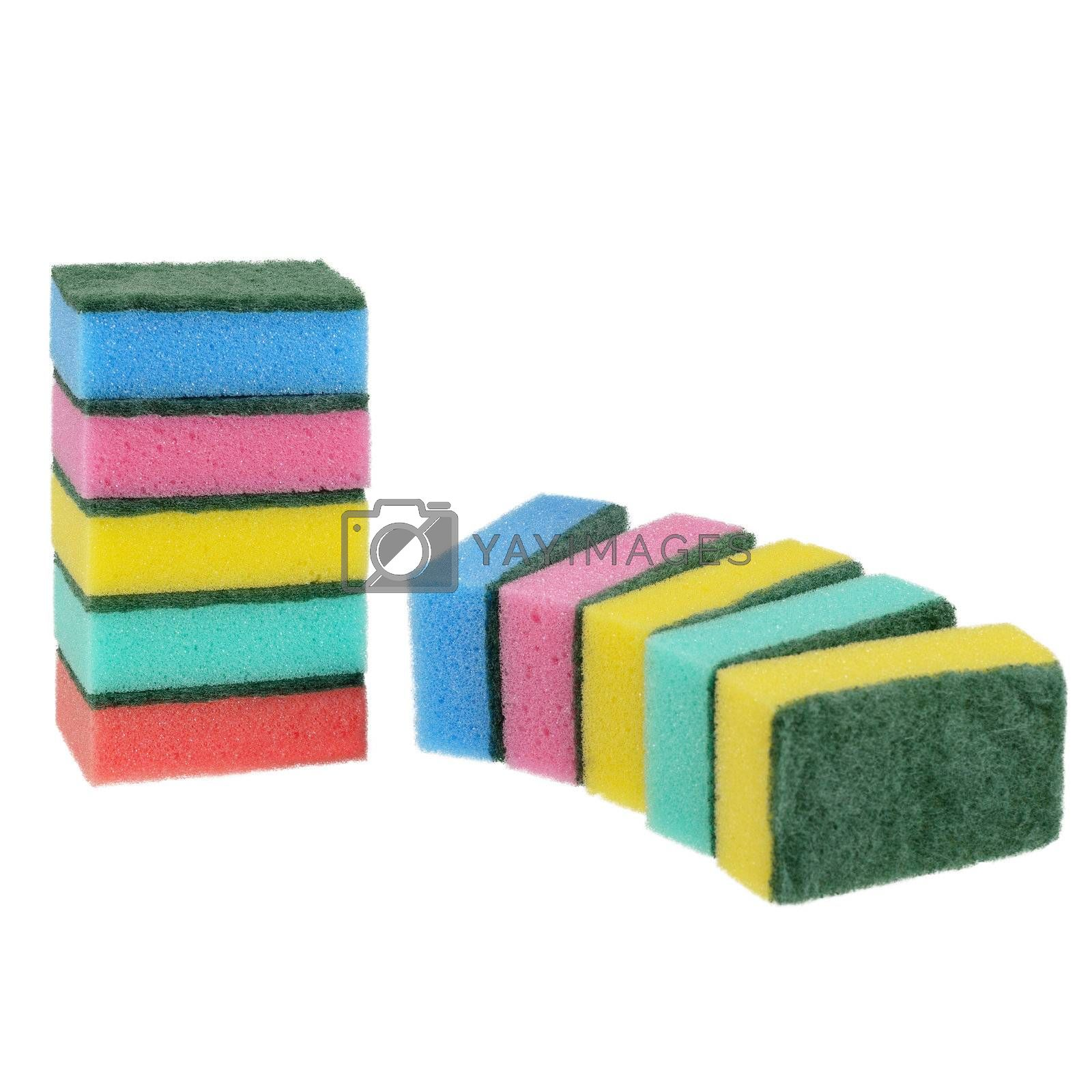 Set of kitchen sponges in different colors. Isolated on white background