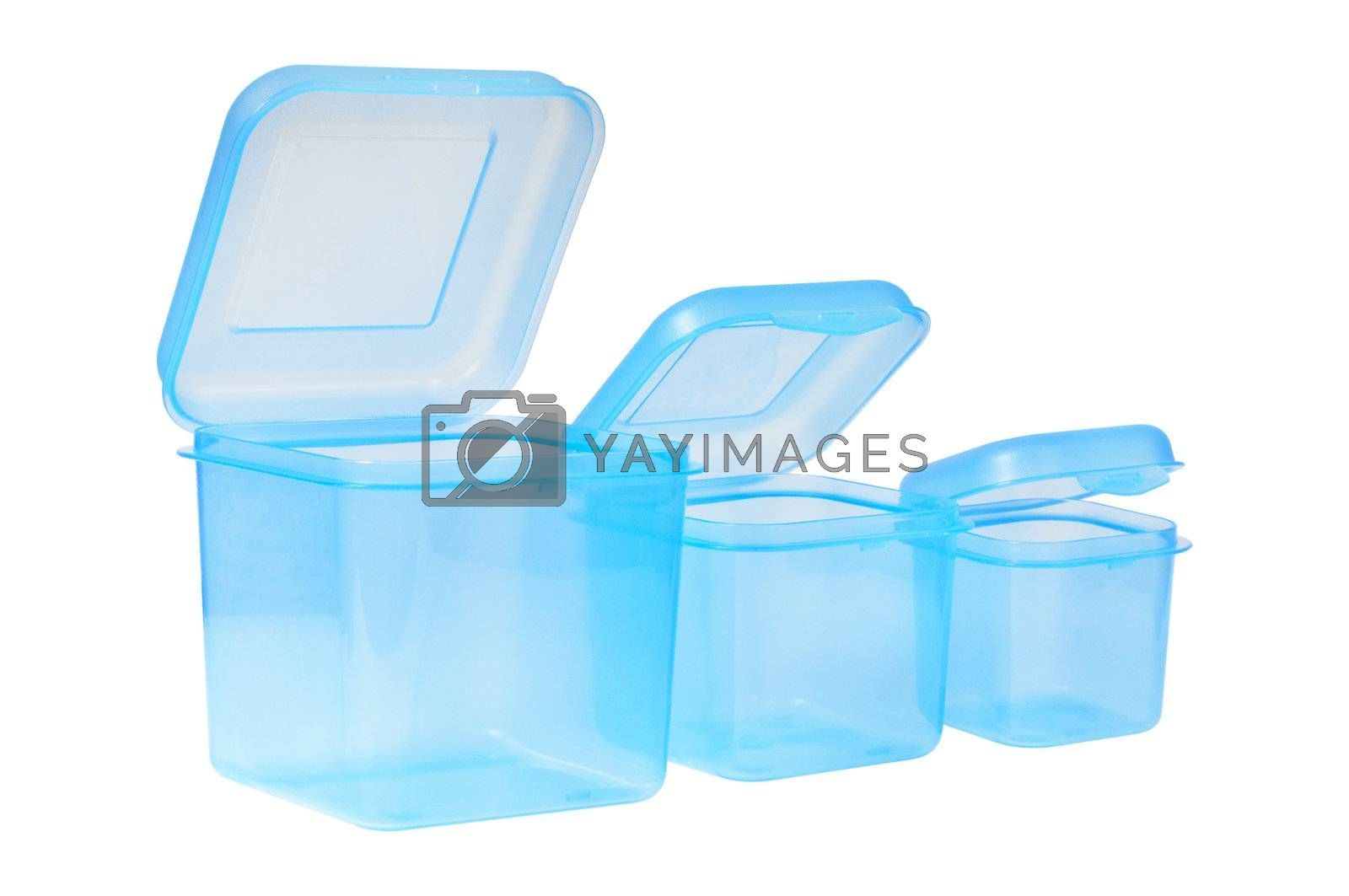 Plastic container set  for storing food. Blue color. Isolated on white background