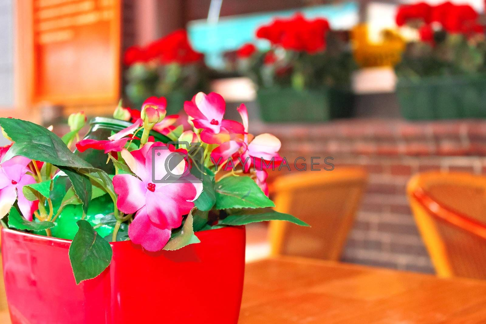 Flowers on the table in a cafe