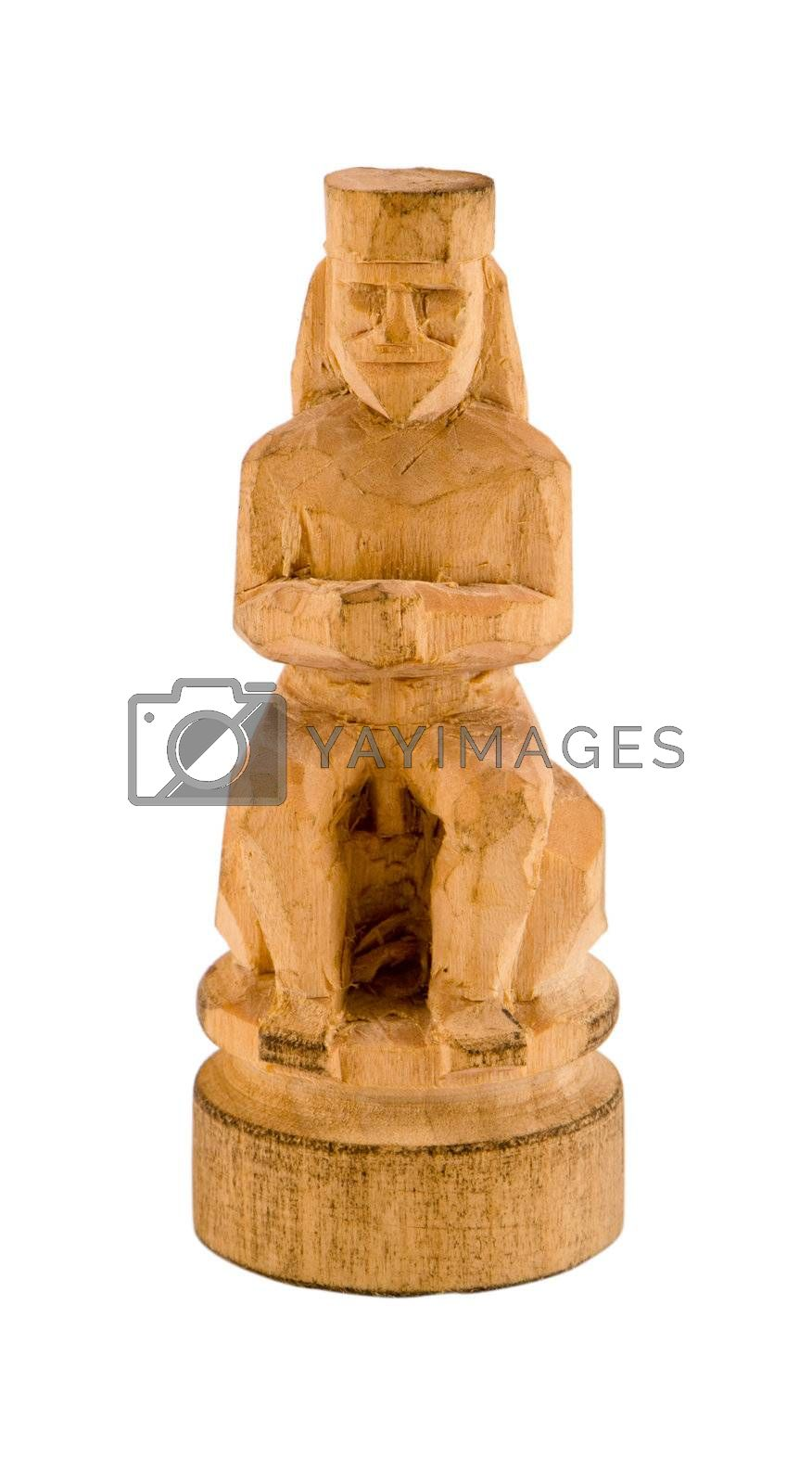 priest statue simply carved handmade craft from wood piece isolated on white background.