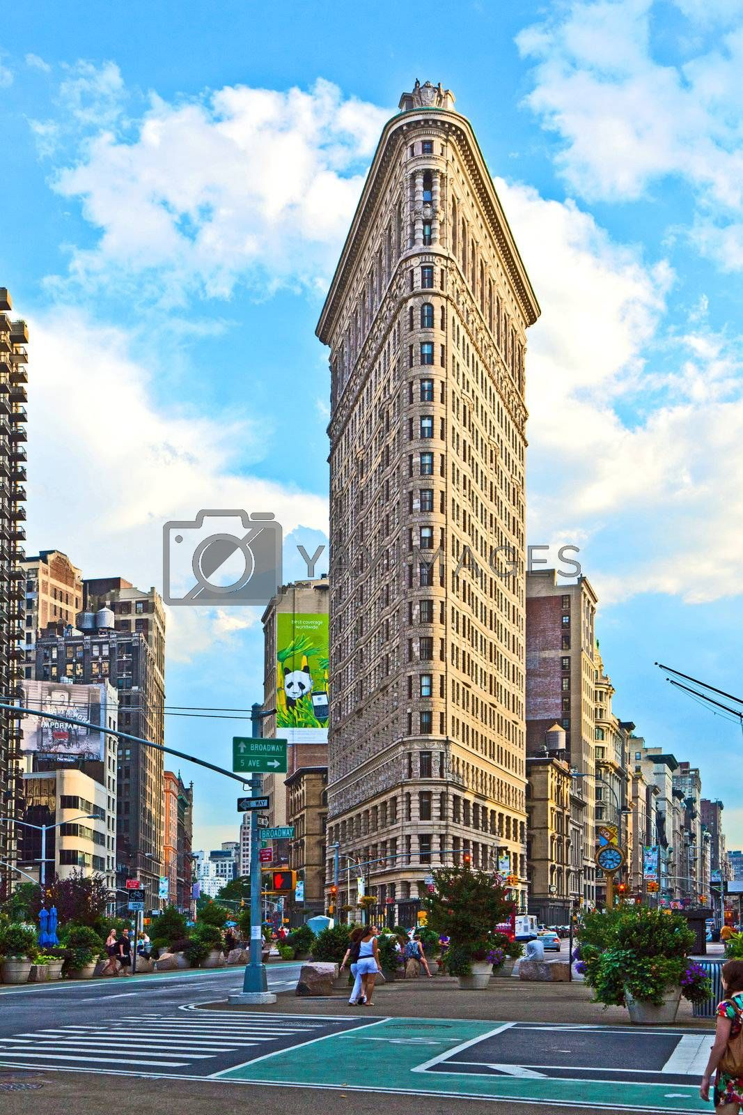 NEW YORK, USA – JULY 11: Facade of the Flatiron building late afternoon in sun on July 11,2010 in New York, USA.