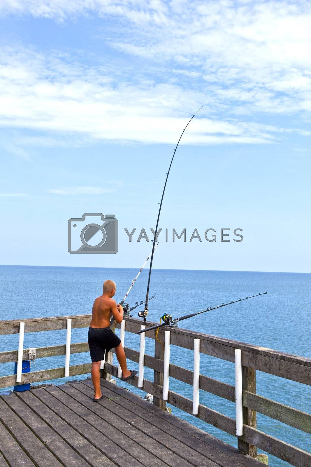 old wooden fishing pier in the outer banks