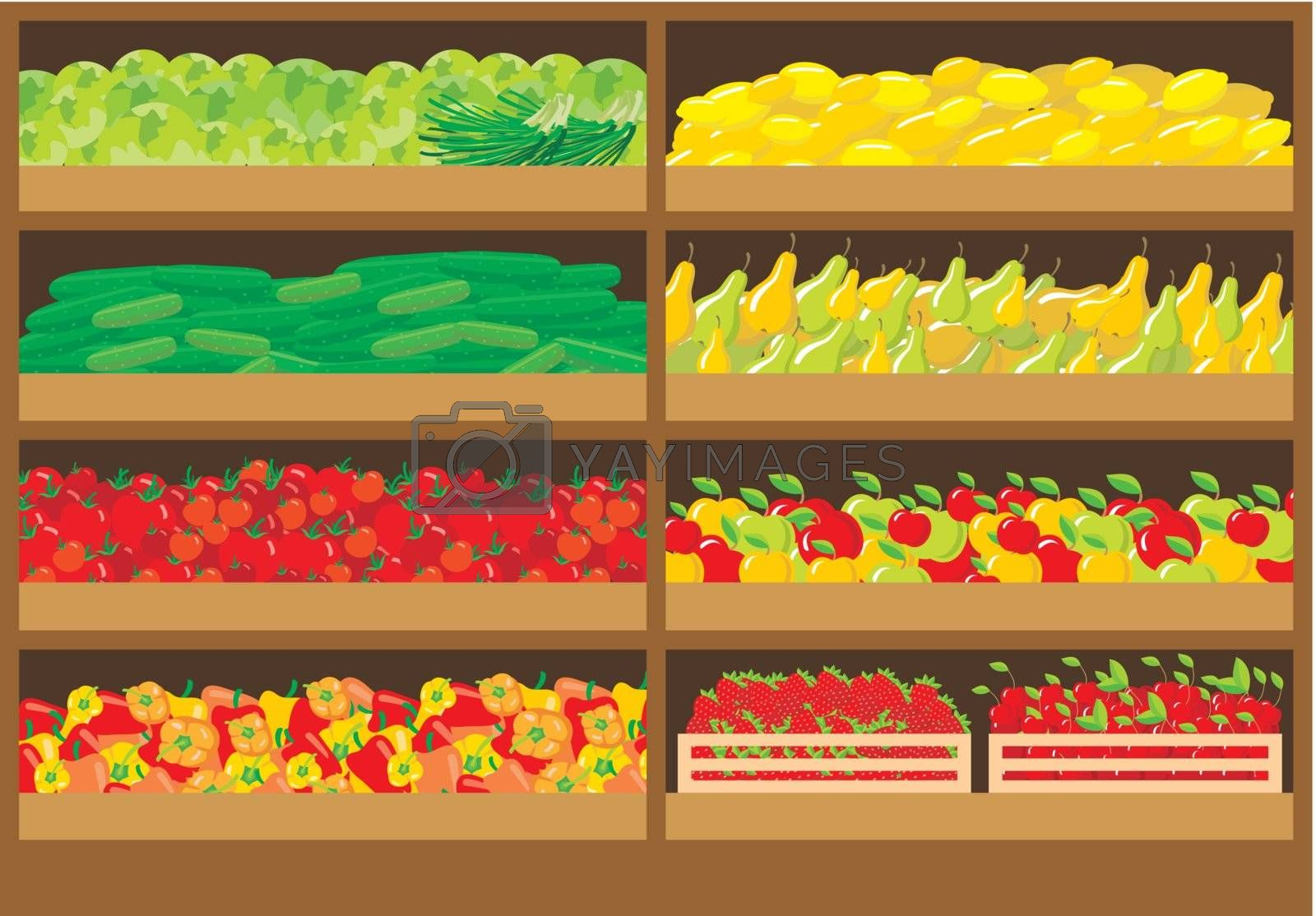 Image of shelves with different vegetables in the store.