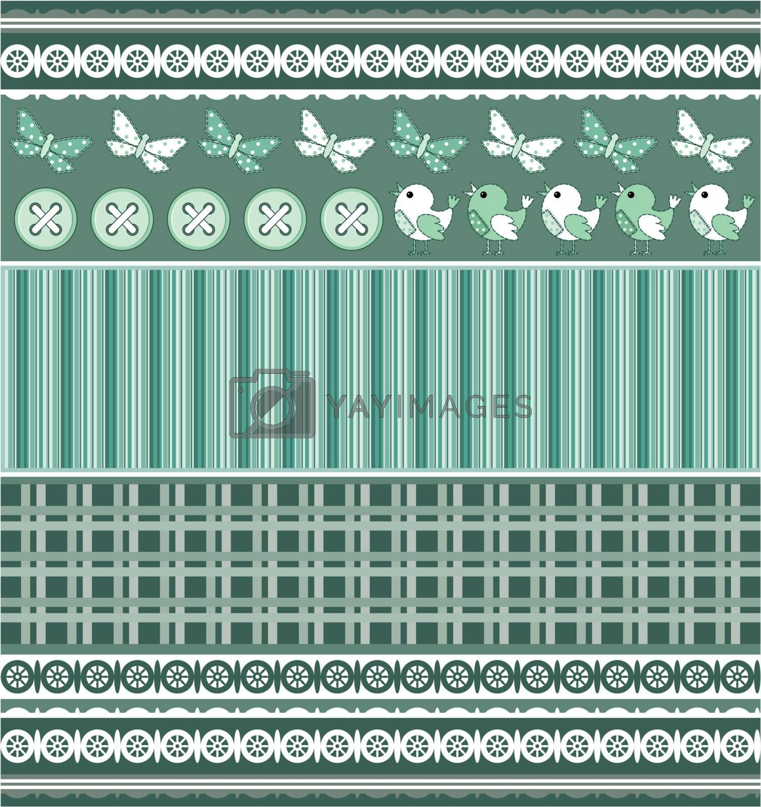 Scrapbook template with birds in shades of green.