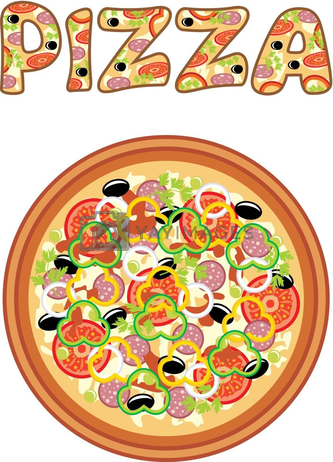 Image set of pizza on a white background.