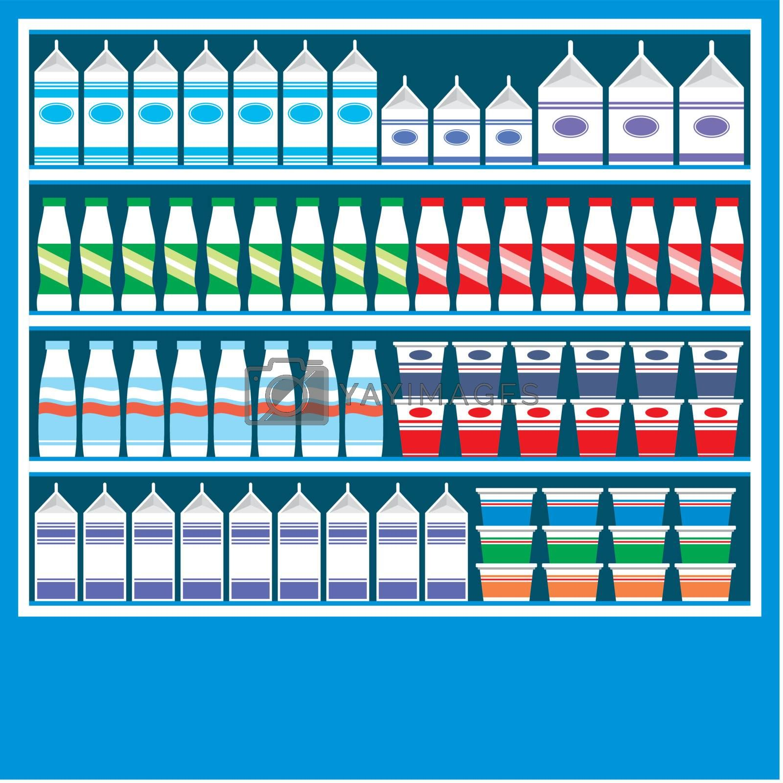 Supermarket shelves with dairy products on a blue background.
