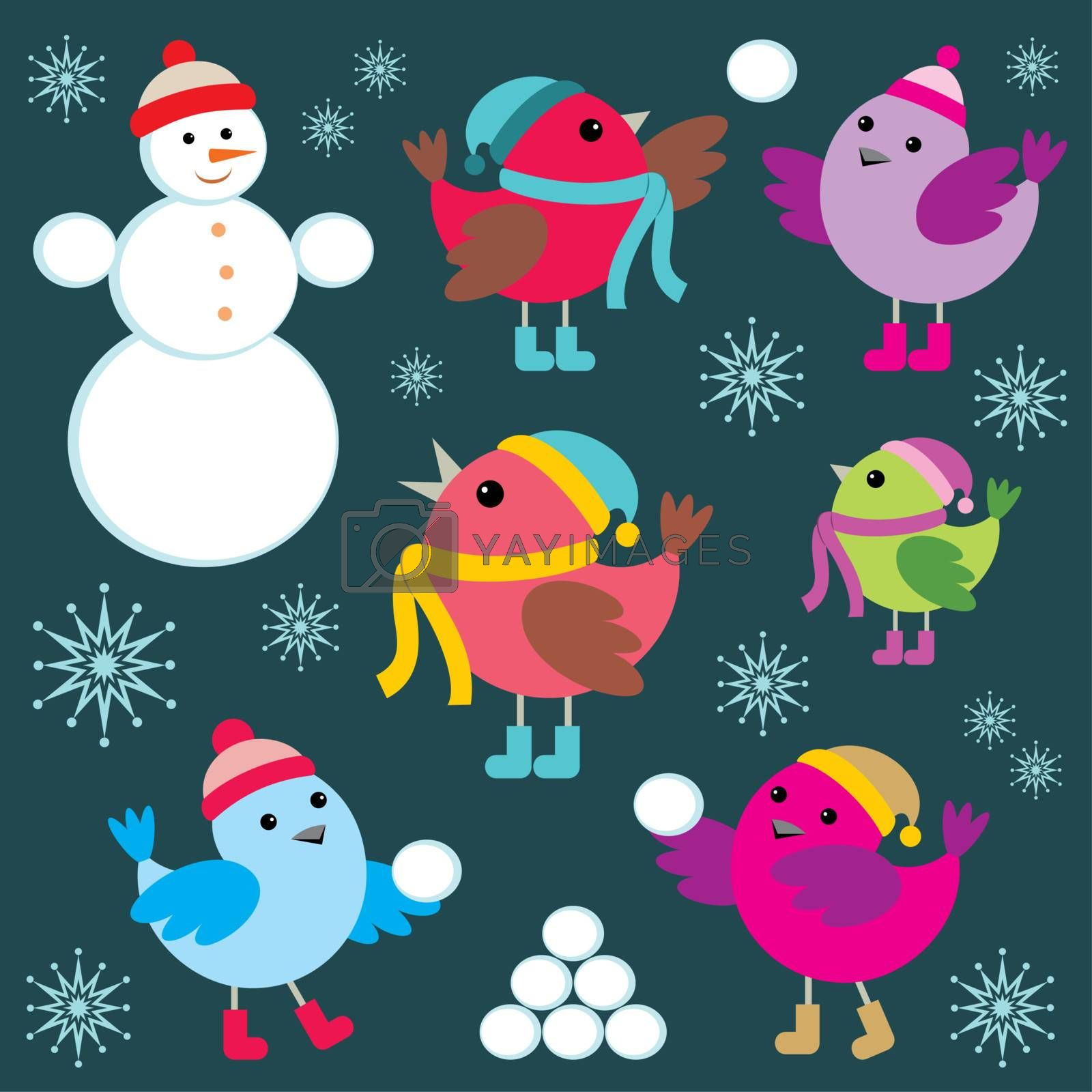 Image set of birds and a snowman for holiday cards.