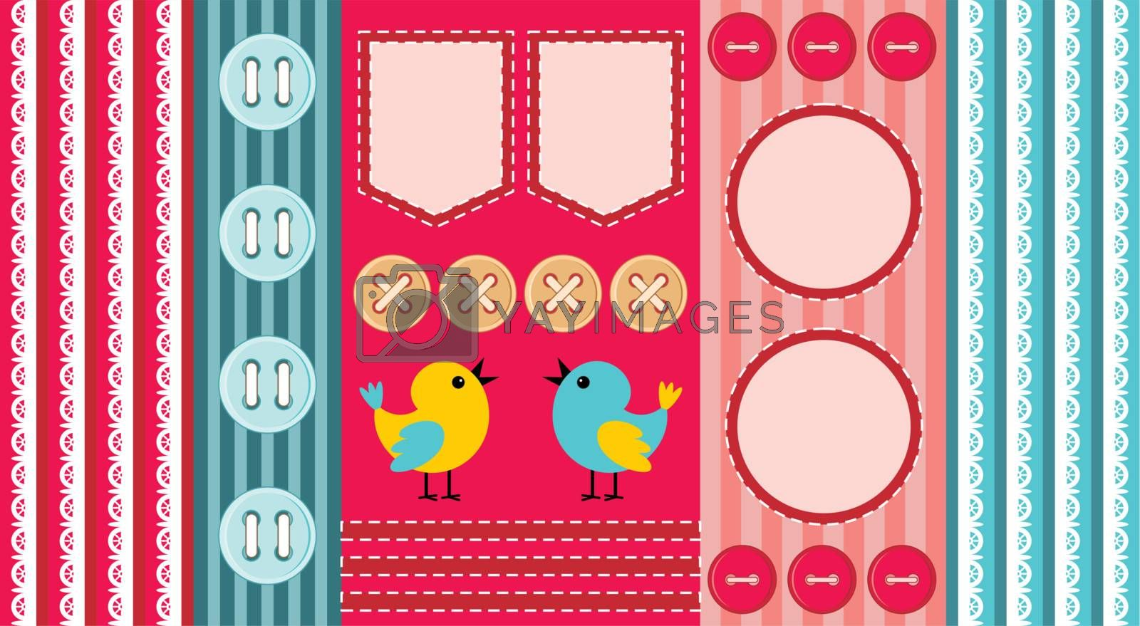 Scrapbook template with birds in different colors.