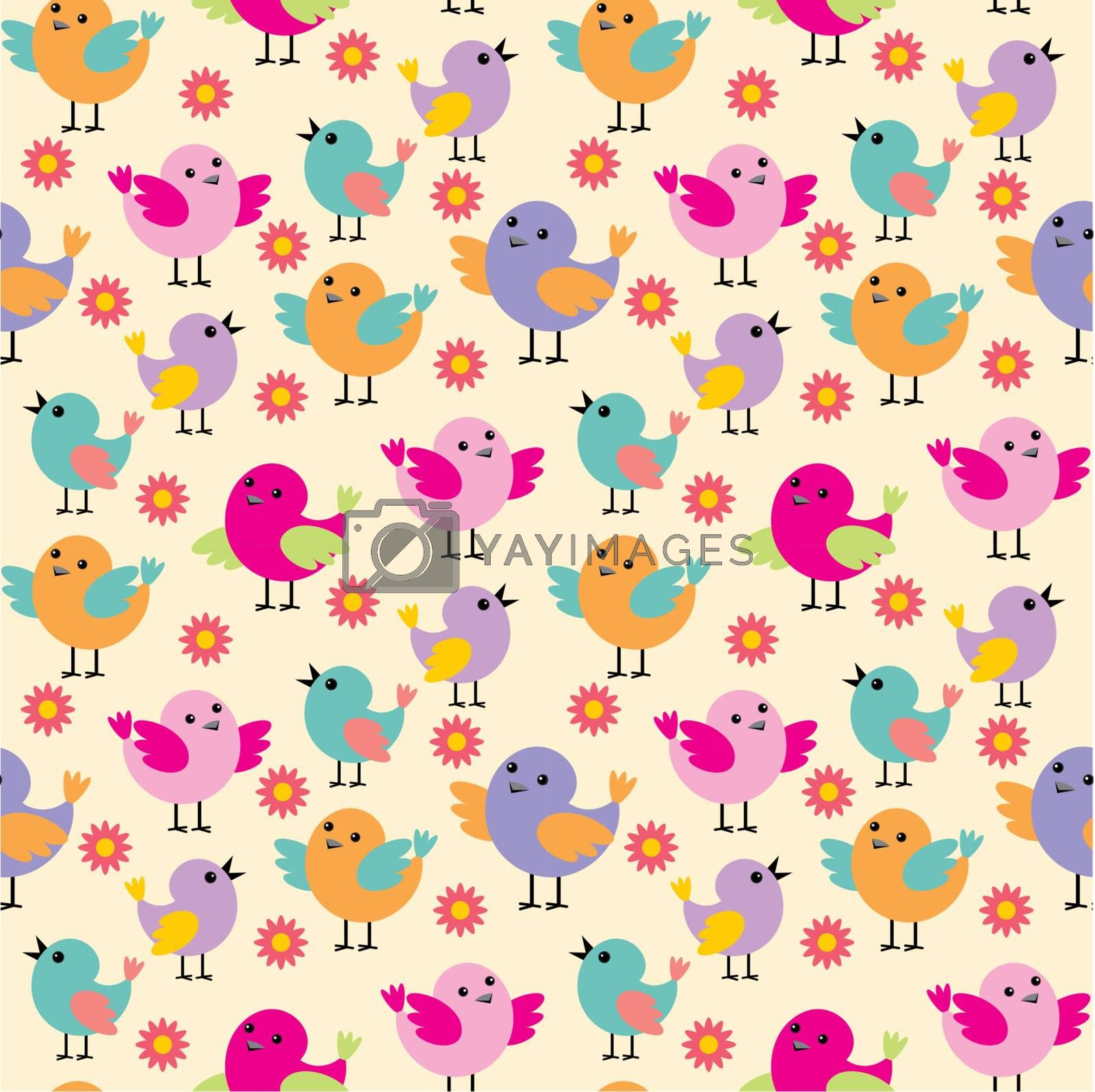 Image of seamless pattern with birds of different colors and sizes.