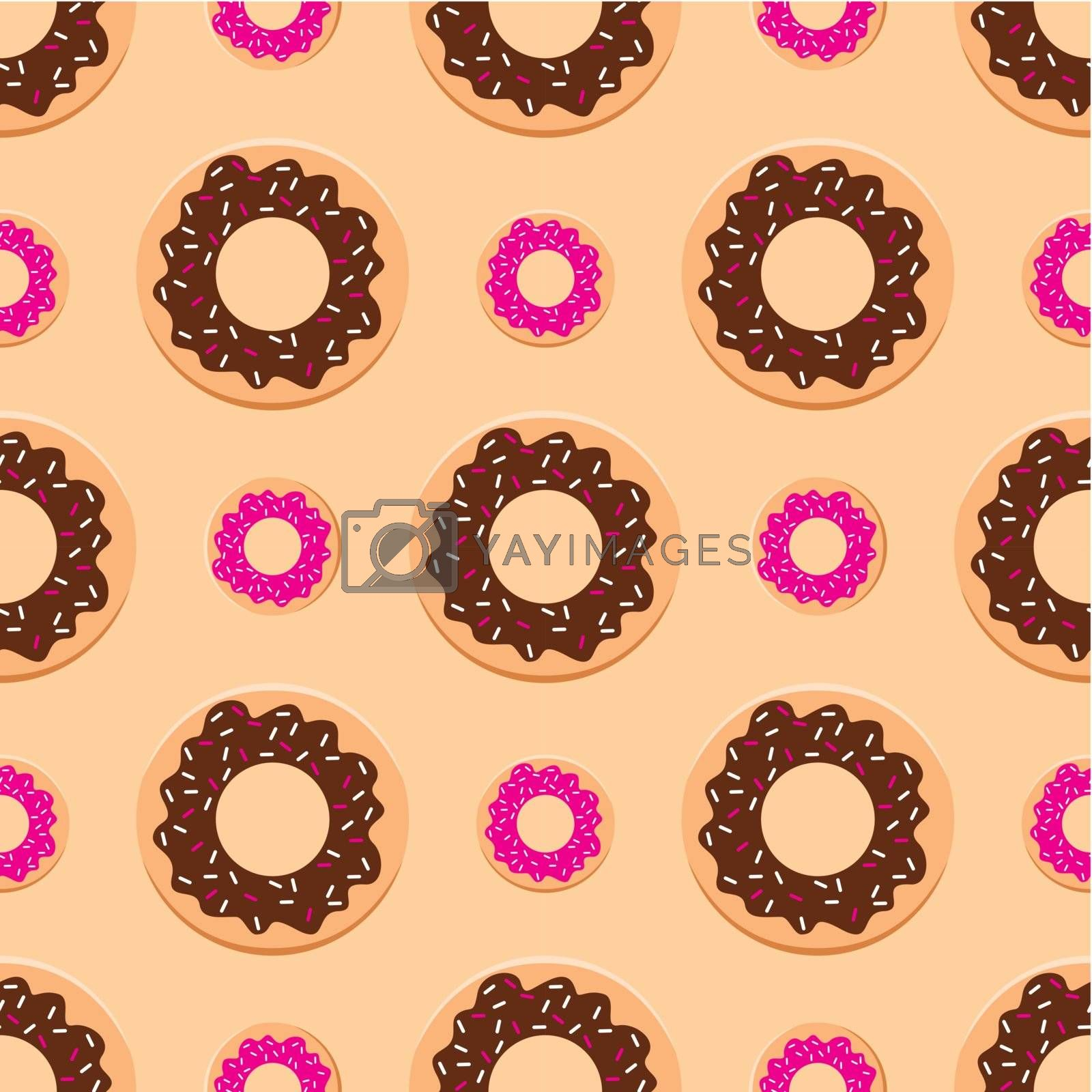 Image of Seamless pattern with donuts of different colors and sizes.