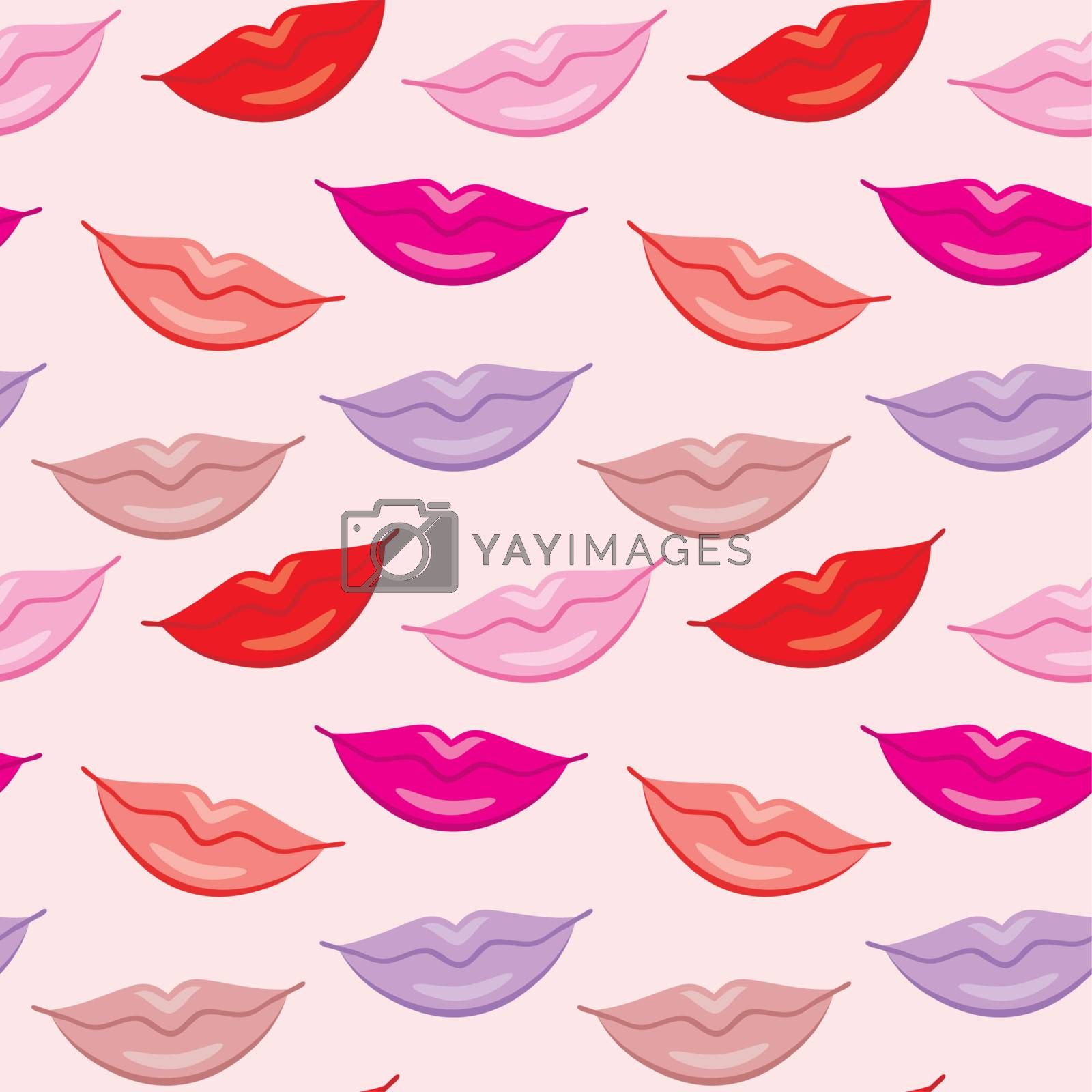 Image of seamless pattern with lips imprint Valentine's Day.