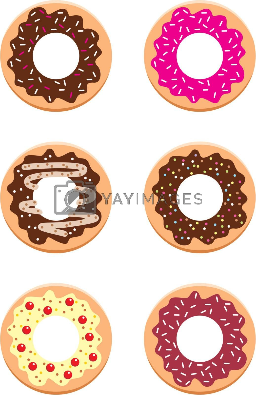 Images of different donuts on a white background.