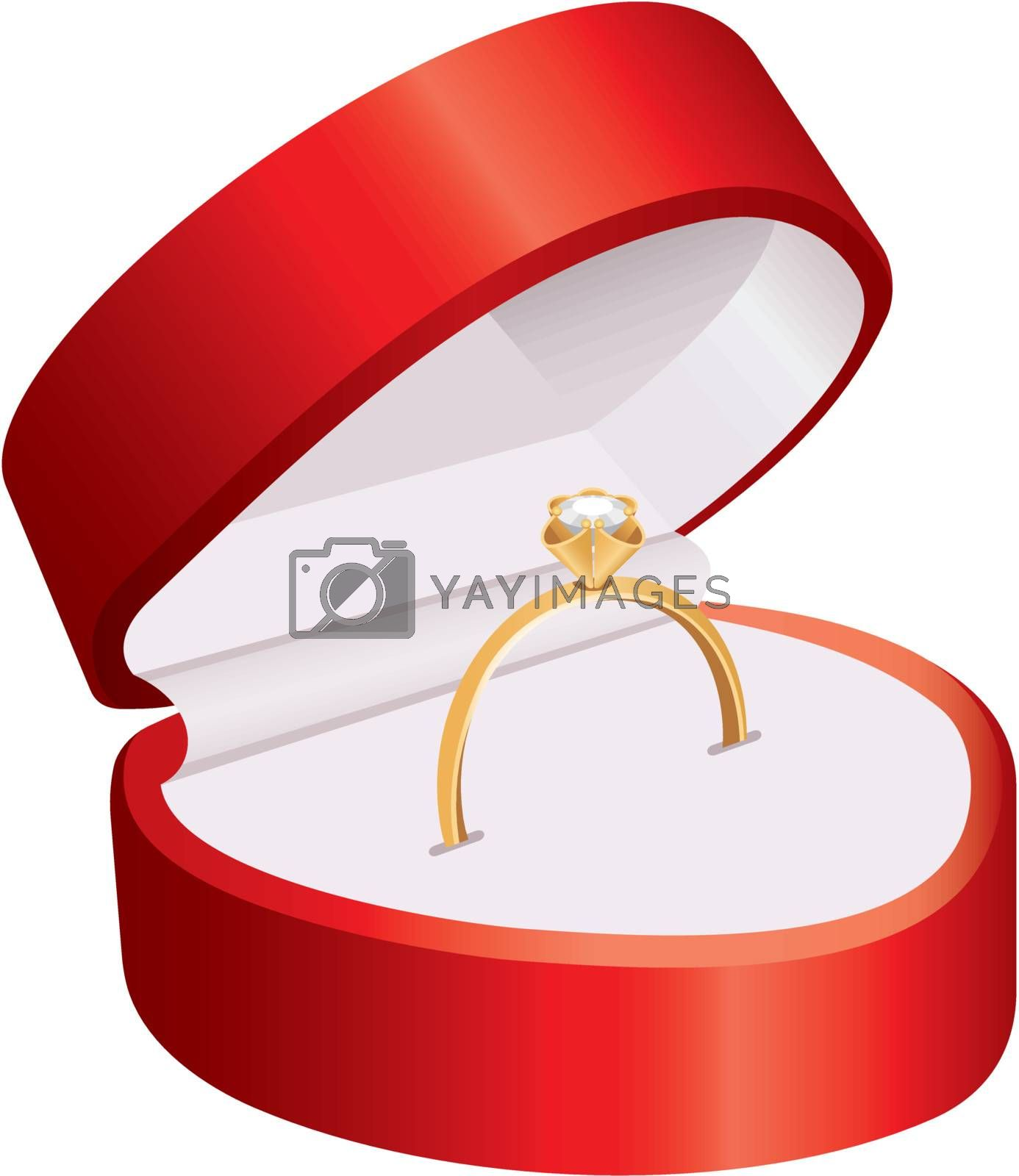 Ring in a red box on a white background.