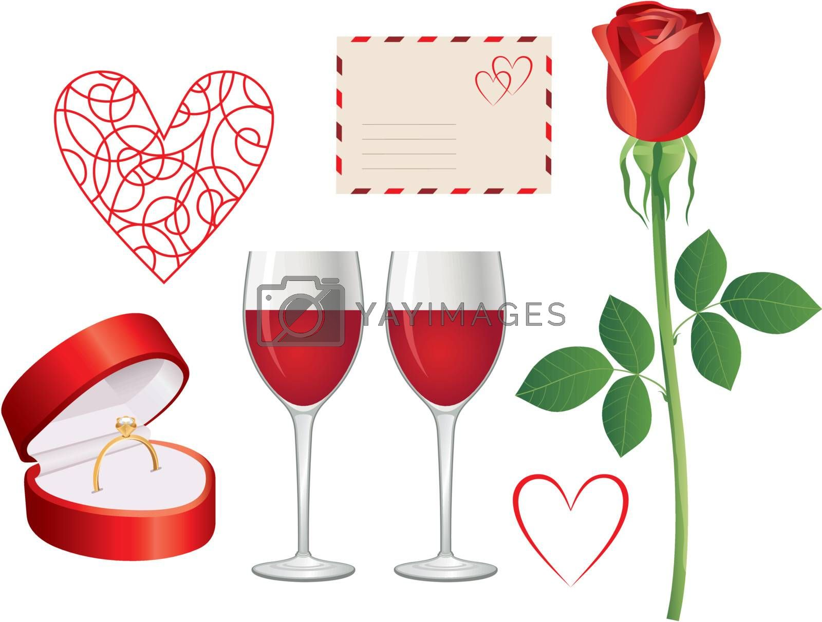 Picture set for greeting card for Valentines Day.