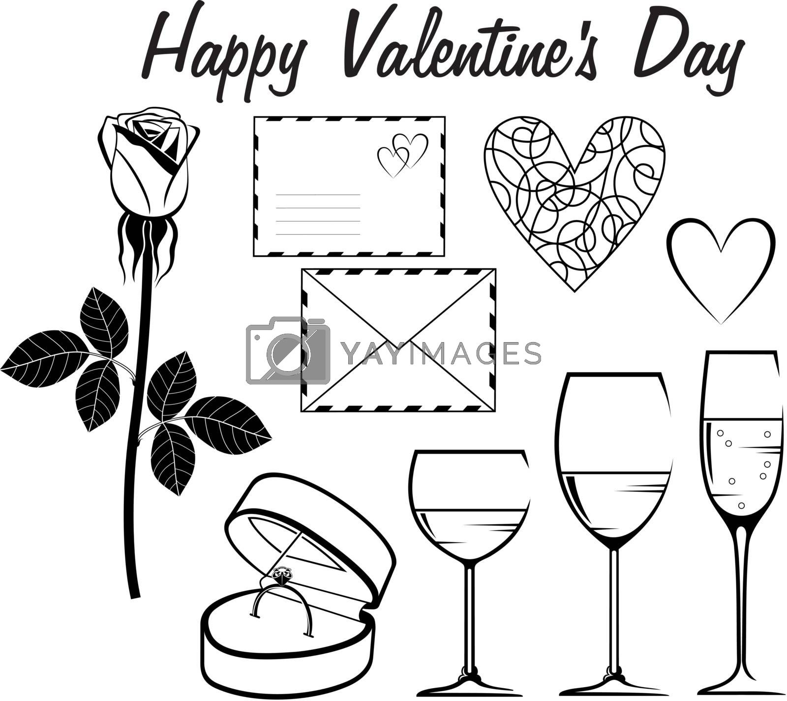 Image set for a card for Valentine's Day in black and white.