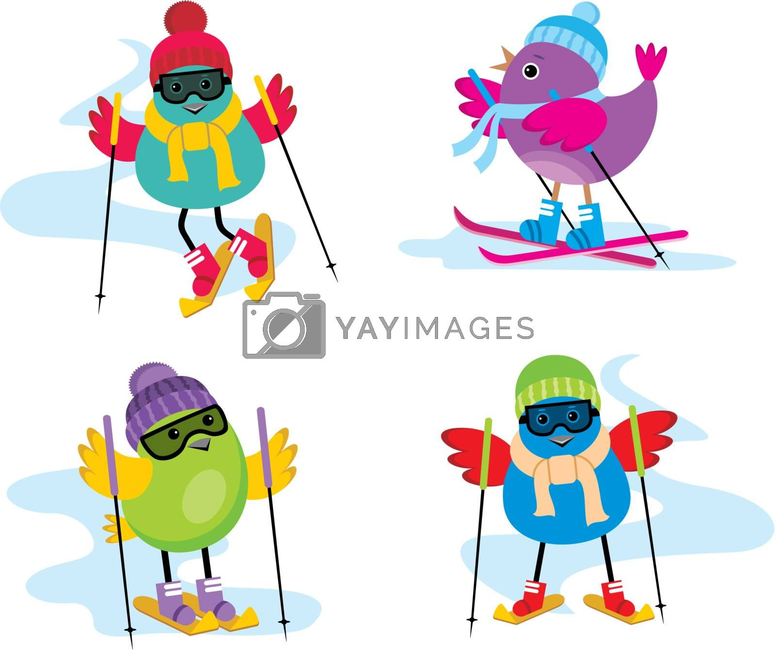 Image of four birdies on skis in winter clothes.