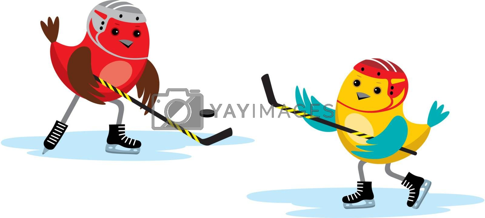 Image of birds playing in a hockey stick and puck.