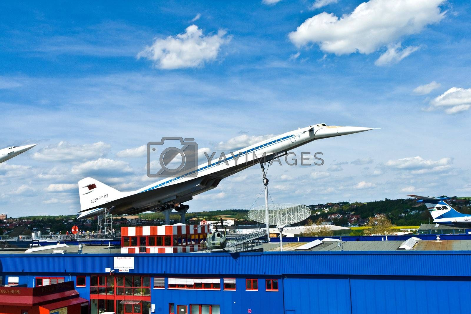 SINSHEIM, GERMANY - MAY 05: supersonic aircraft  Tupolev TU-144 in the museum in Sinsheim  on May 05, 2008 in Sinsheim, Germany.
