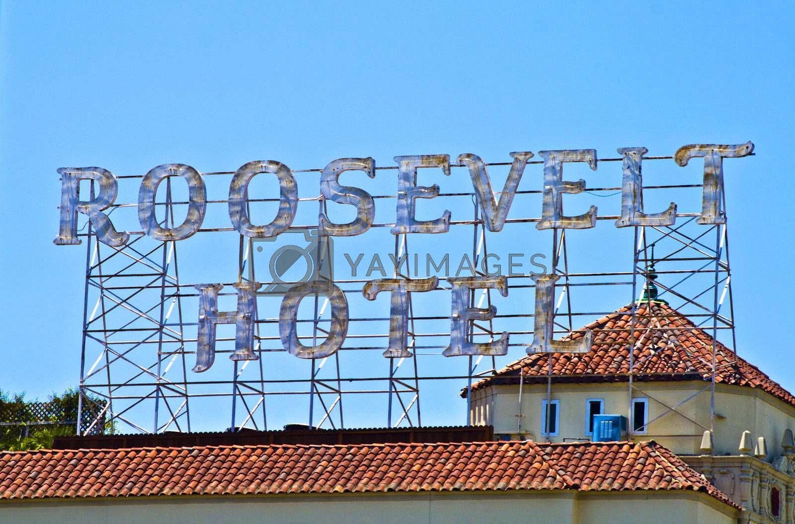HOLYWOOD - JULY 05: Big letters on the roof show the people the place of the  famous Roosevelt Hotel in Holywood on July 05, 2008 in Hilywood, USA.