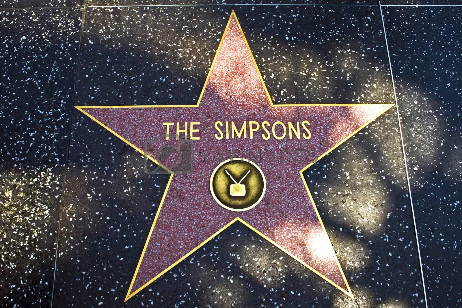 HOLLYWOOD, LOS ANGELES - JULY 5: the star for The Simpsons on the walk of fame in Hollywood on a sunny day on July 5,2008, Los Angeles, USA