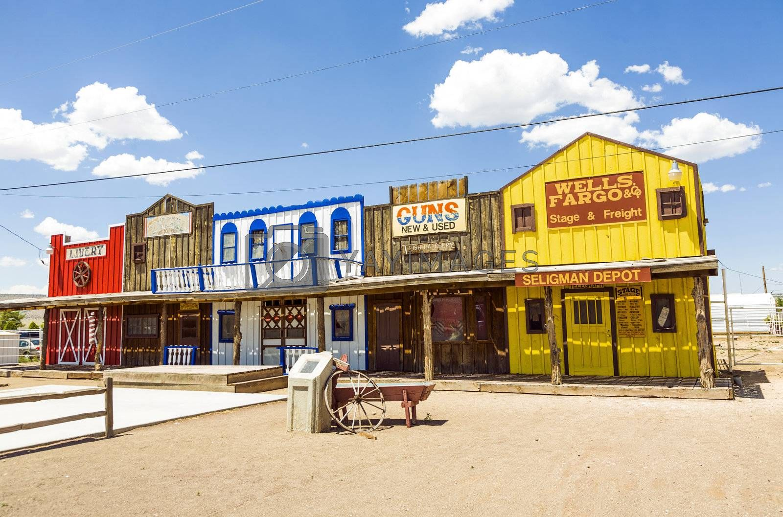 SELIGMAN, USA - JUL 8: The Historic Seligman depot on July  8, 2008 in Seligman, AZ, USA on Historic Route 66. Built in 1904, today, Seligmans depot is the best original western facade all over Route 66.