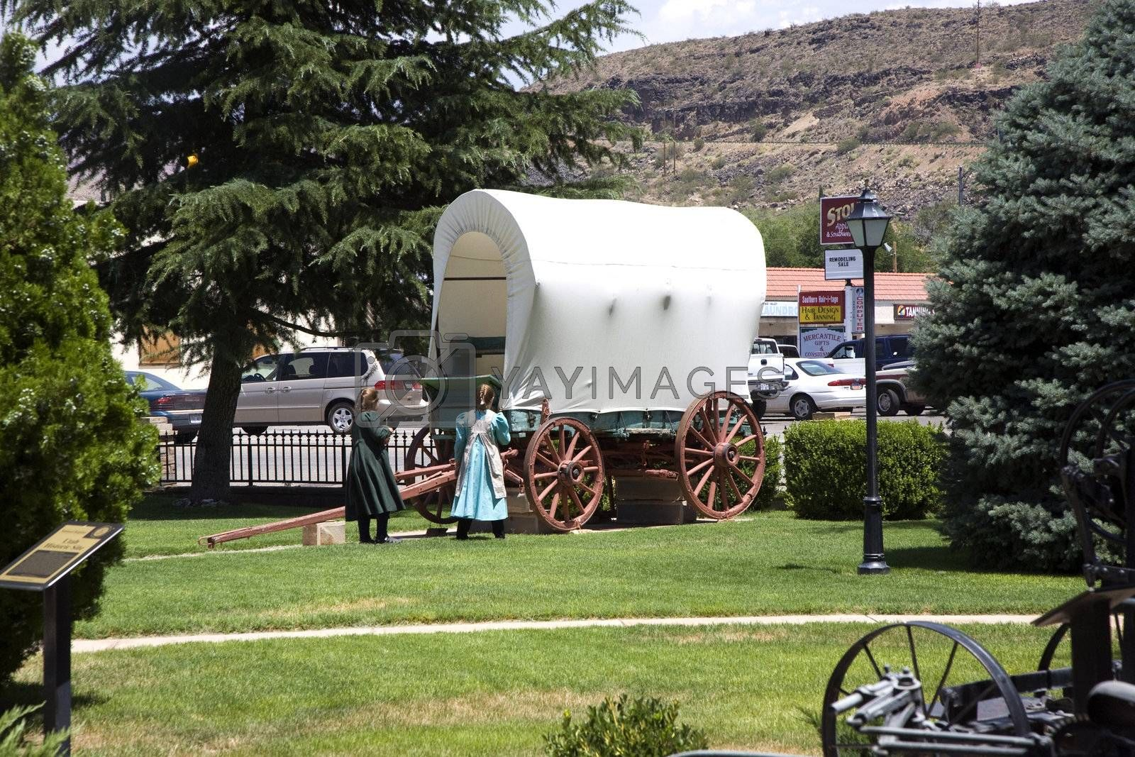 HURRICANE, USA - JULY 17: visiting the Museum of Hurricane with an old covered waggon of the early settlers  on July 17,2008 Hurricane, USA