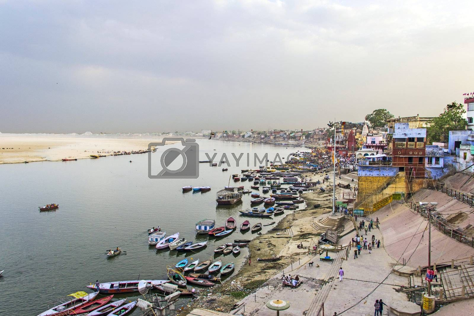 Boats at river ganges ready for transport of pilgrims on the sacred River Ganges at Varanasi  , India.
