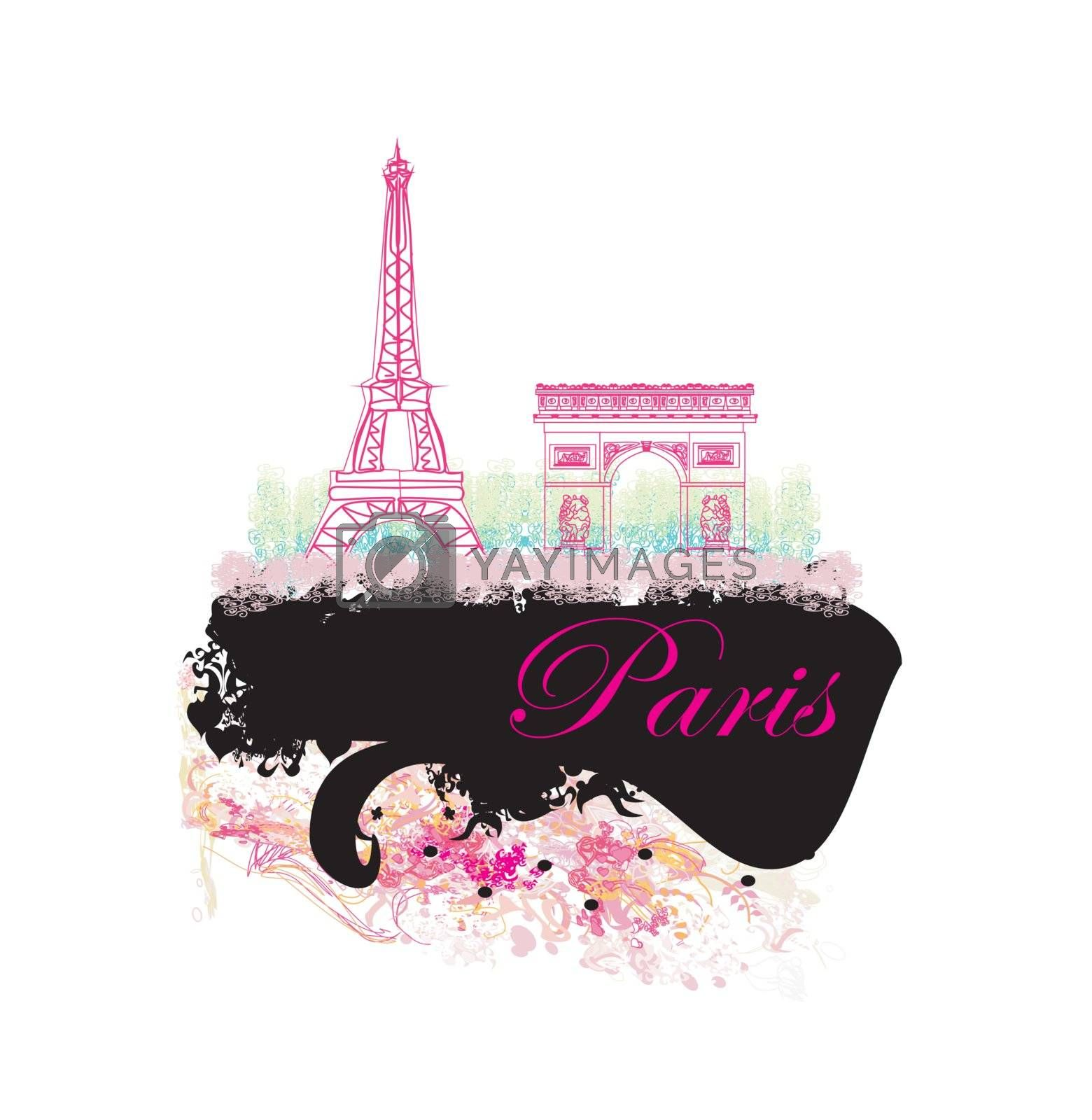 Eiffel tower artistic background. Vector illustration.