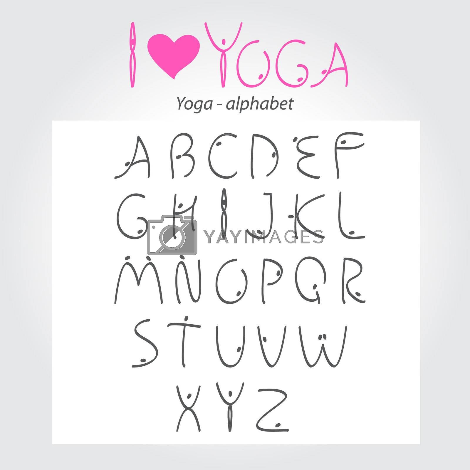 Yoga - the alphabet. A unique font for your design - the letters in the form of yoga asanas. Vector.