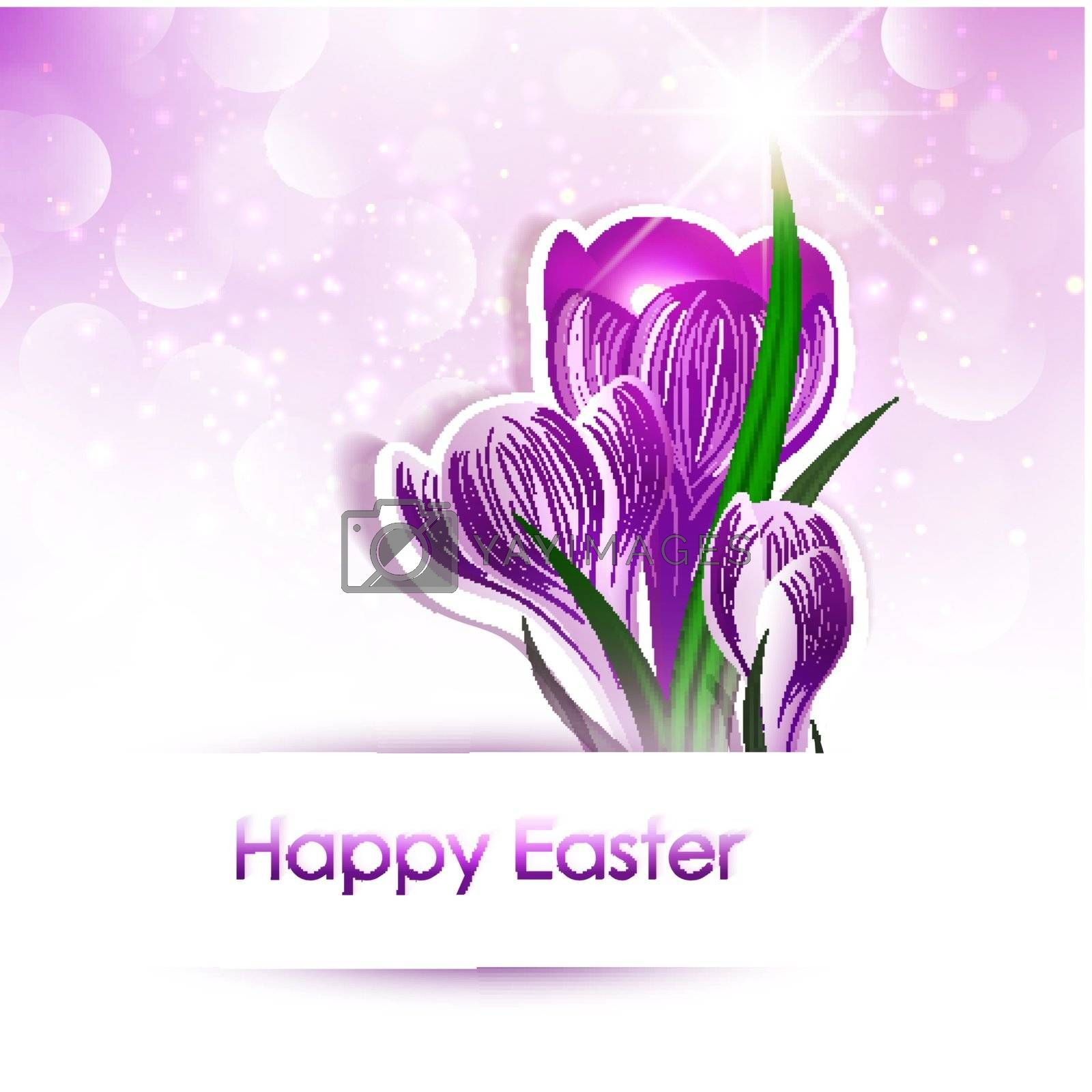 Happy Easter Greeting With Crocus Flowers Over Bright Background