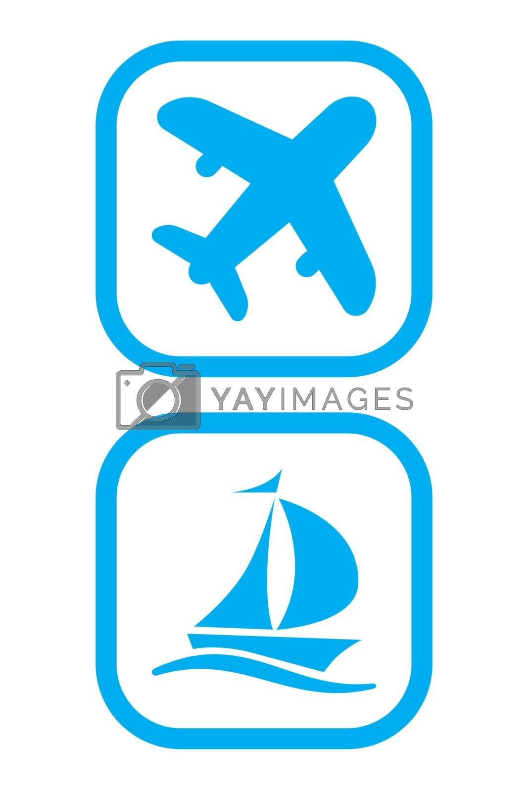 Vector Illustration of Plane and Ship Icons