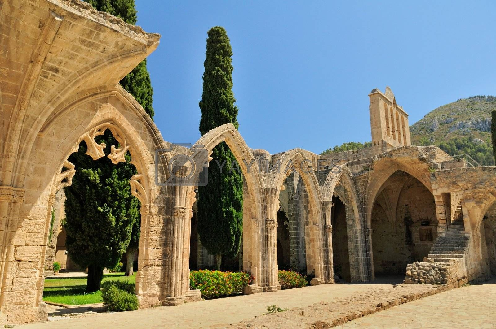 Bellapais Abbey Monastery in Kyrenia. Turkish side of the island of Cyprus.