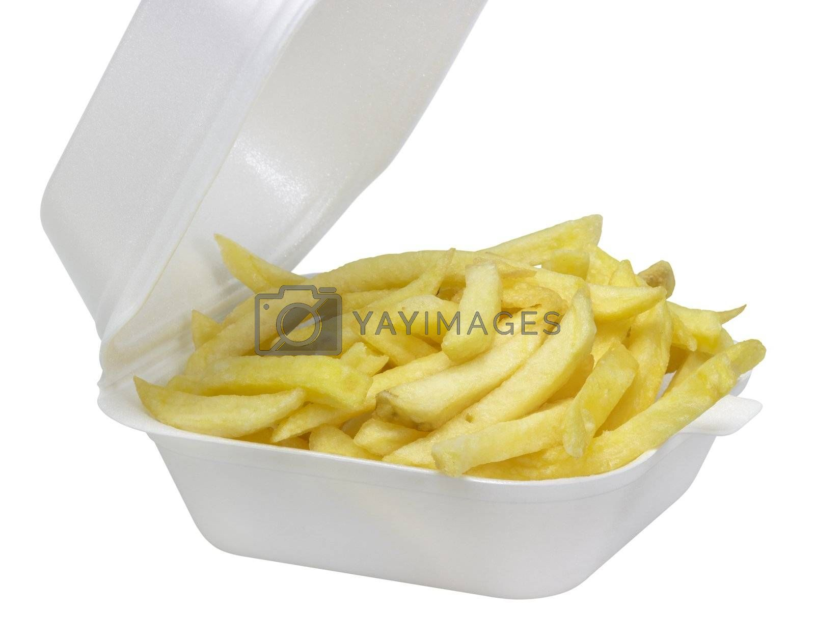 some french fries in a white plastic box in white back
