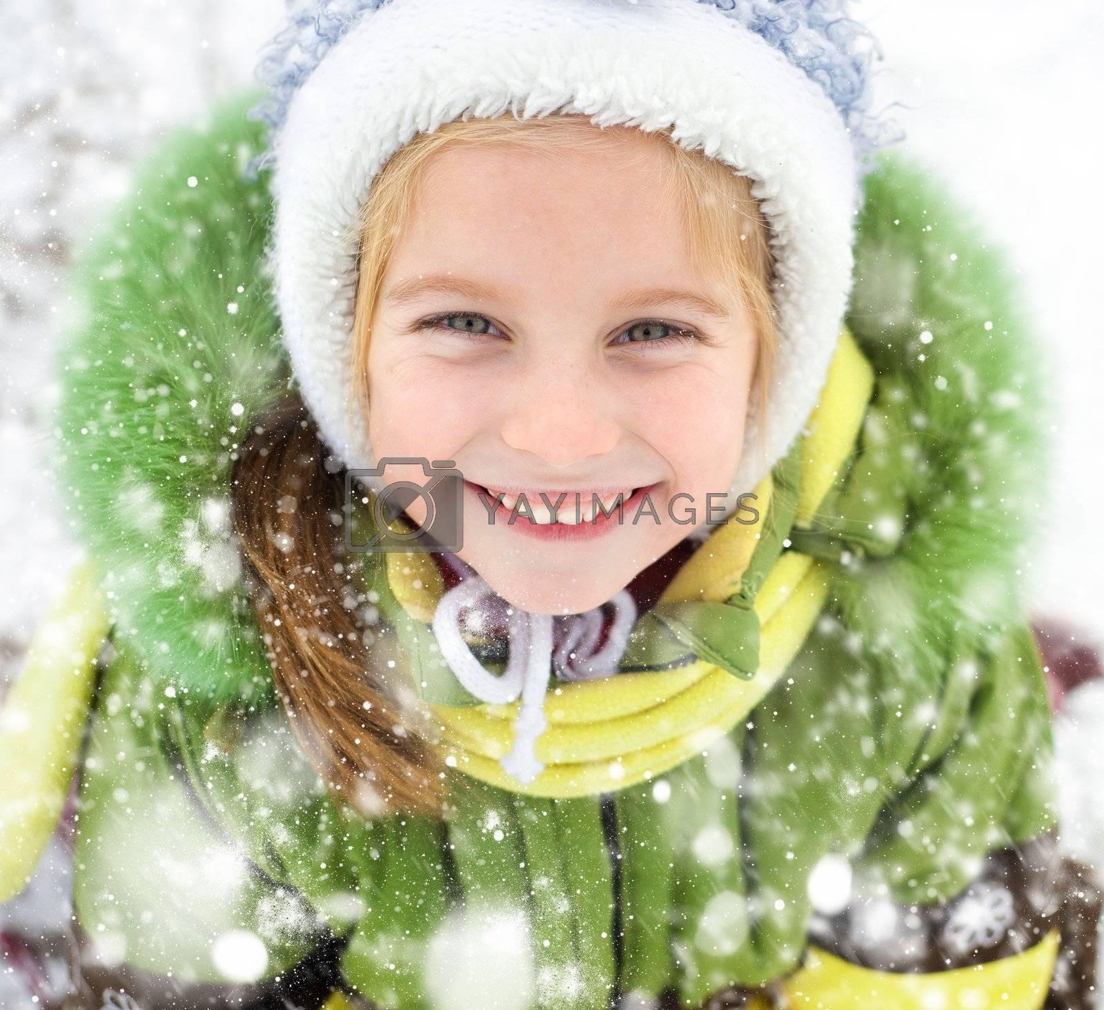 Portrait of happy little girl winter vacation