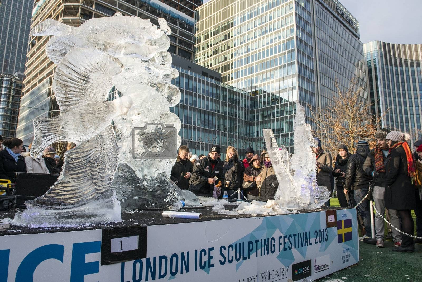 LONDON, UK - JANUARY 13: The Swedish team's freestyle modality sculptures at the London Ice Sculpture Festival, in Canary Wharf. January 13, 2013 in London.