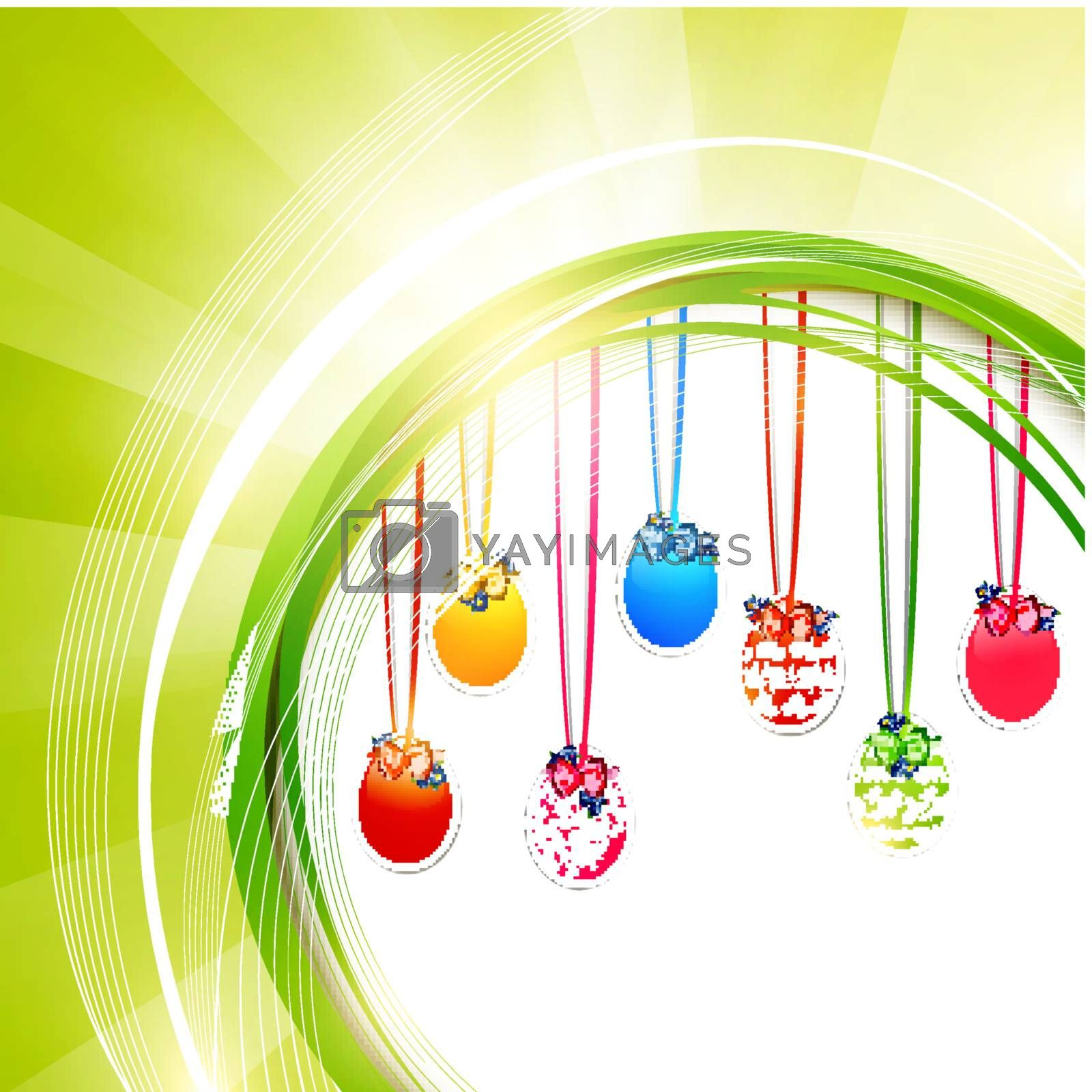Easter Green Frame With Decorative eggs, Copyspace for Your Text