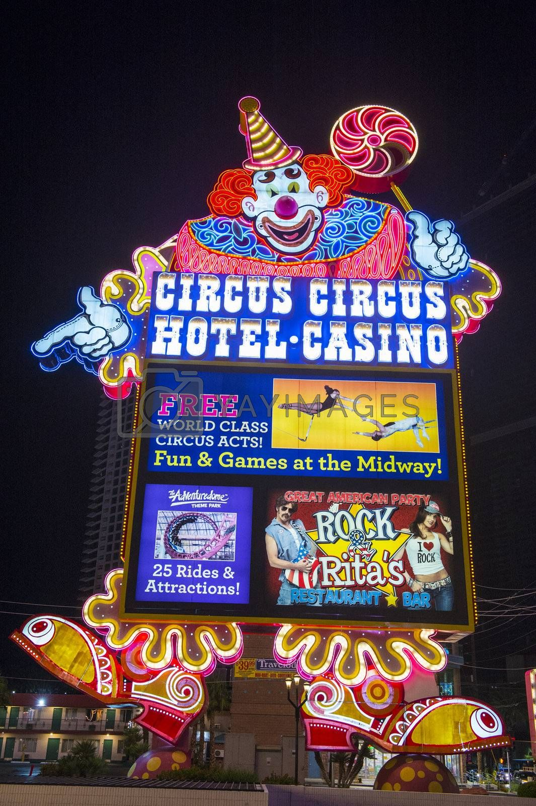 LAS VEGAS - NOVEMBER 08: The Circus Circus hotel and casino sign on November 08, 2012 in Las Vegas. Las Vegas in 2012 is projected to break the all-time visitor volume record of 39-plus million visitors