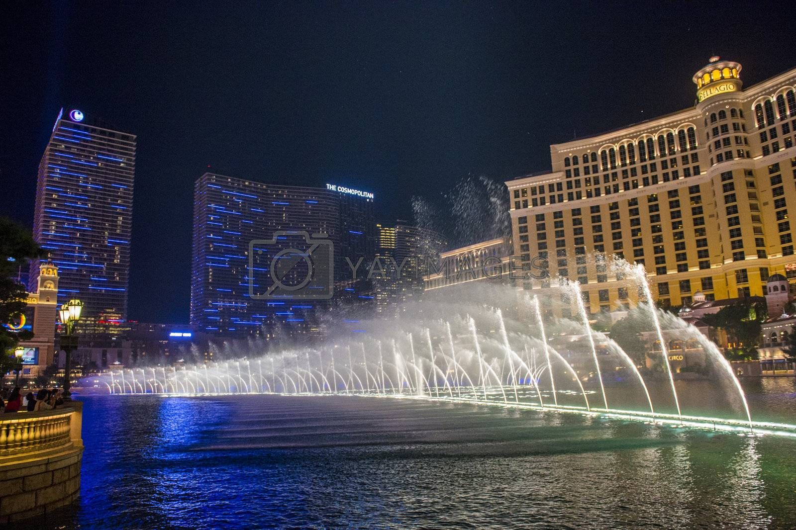 LAS VEGAS - NOVEMBER 08: Bellagio hotel and casino Fountains on November 08, 2012 in Las Vegas. Las Vegas in 2012 is projected to break the all-time visitor volume record of 39-plus million visitors
