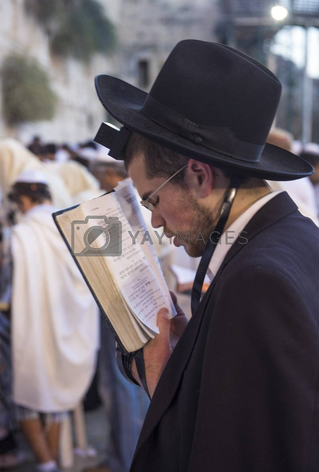 JERUSALEM - SEP 25 : Jewish man prays during the penitential prayers the Selichot , held on September 25 2012 in the Wailing wall in Jerusalem Israel