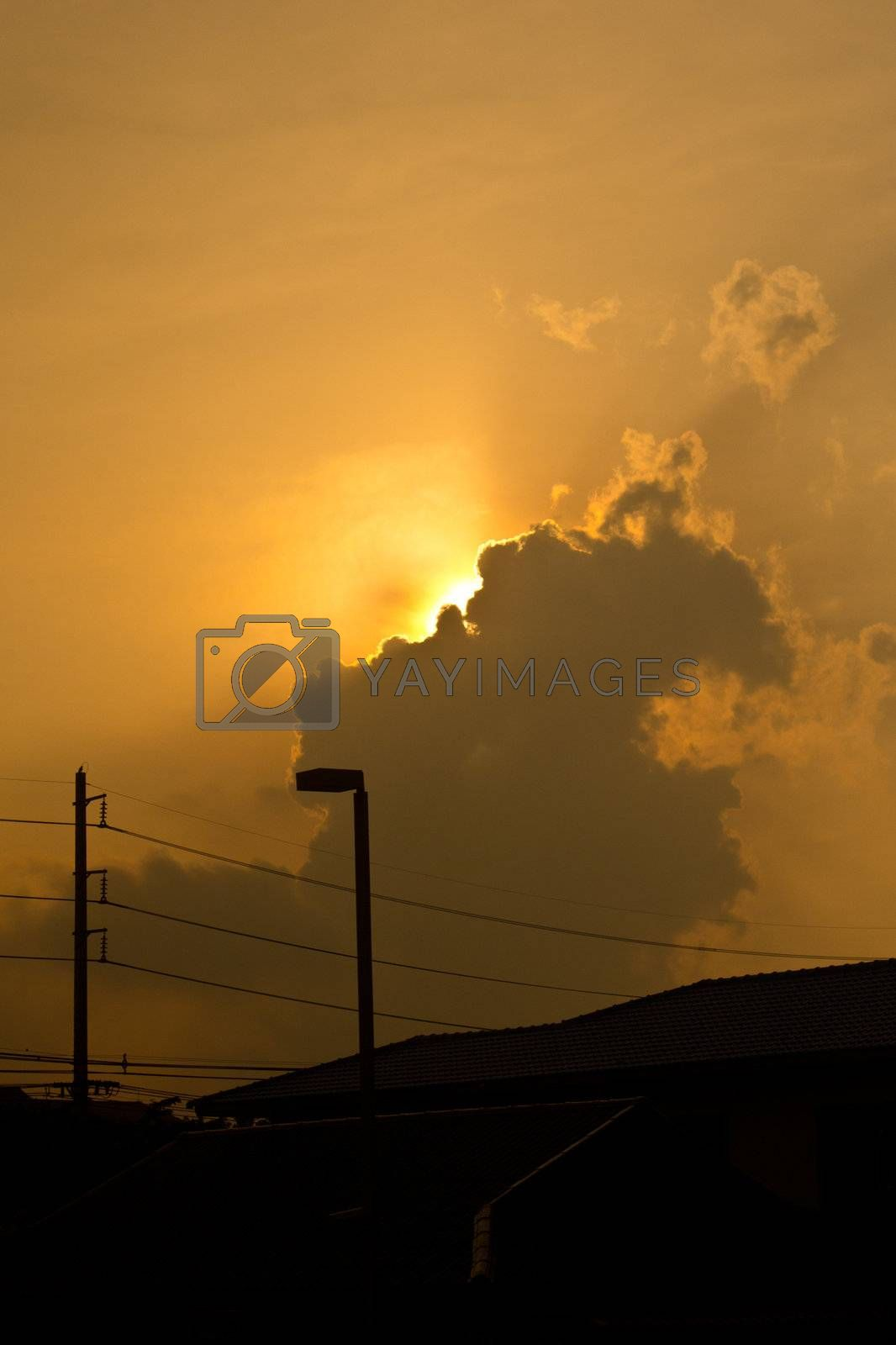 sunhine behind cloud
