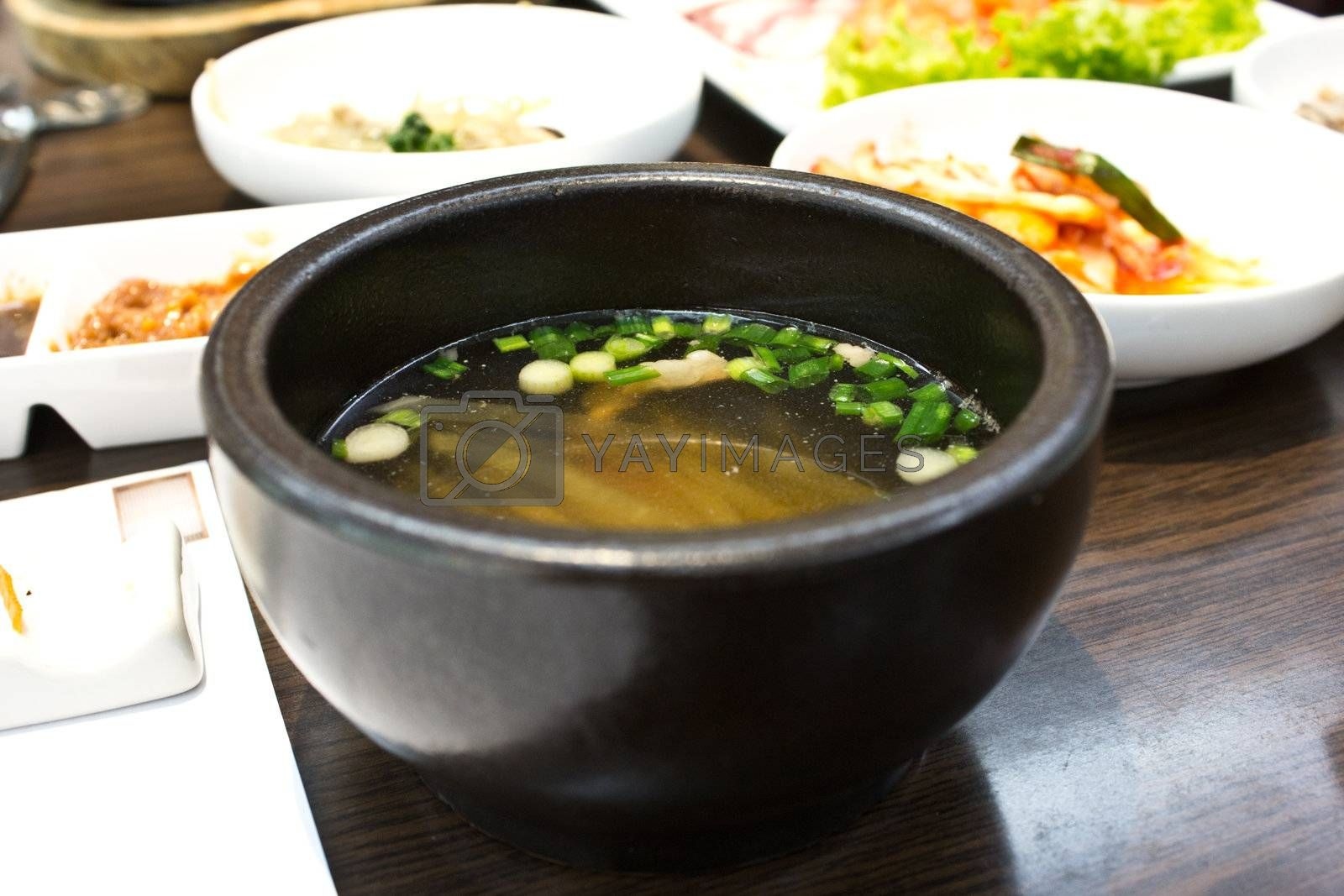 miso soup in the restaurant