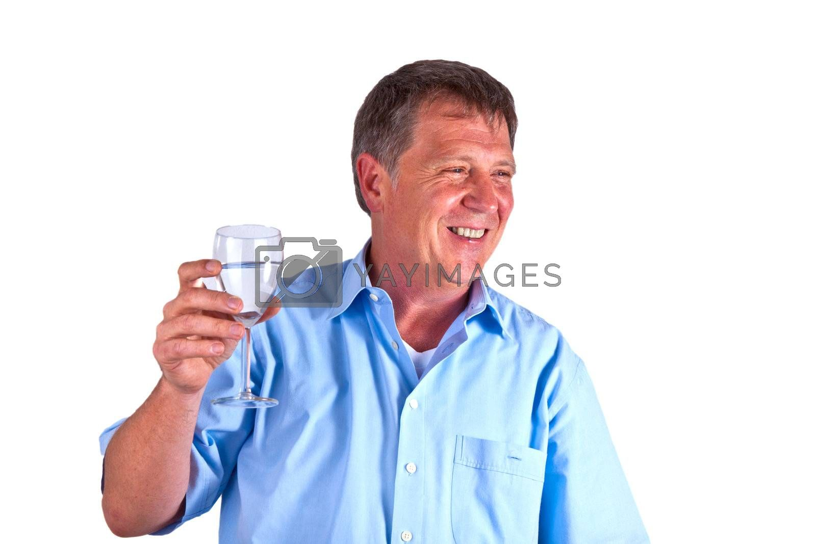 thirsty man drinking out of a wine glass