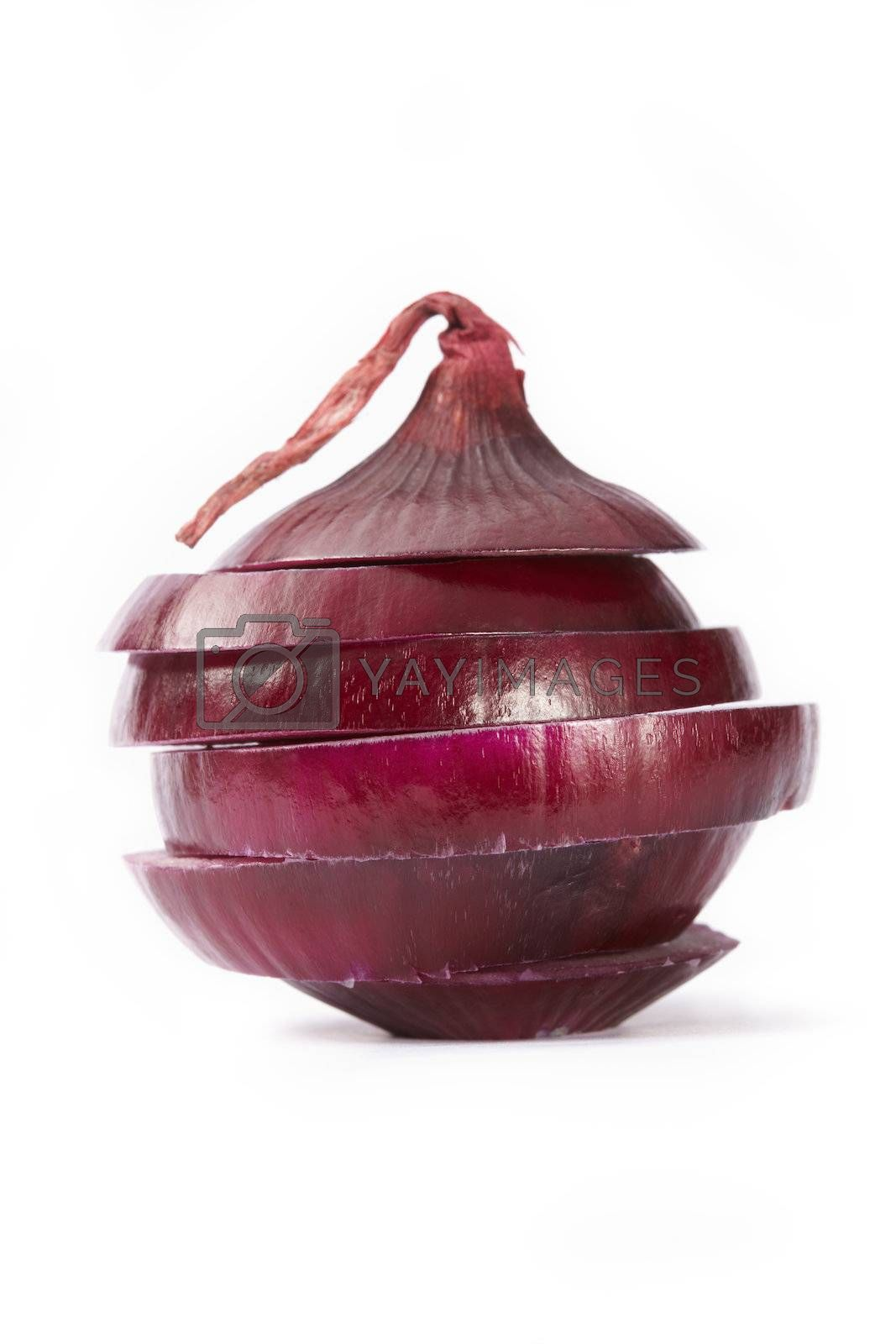 Red  sliced onion on white background