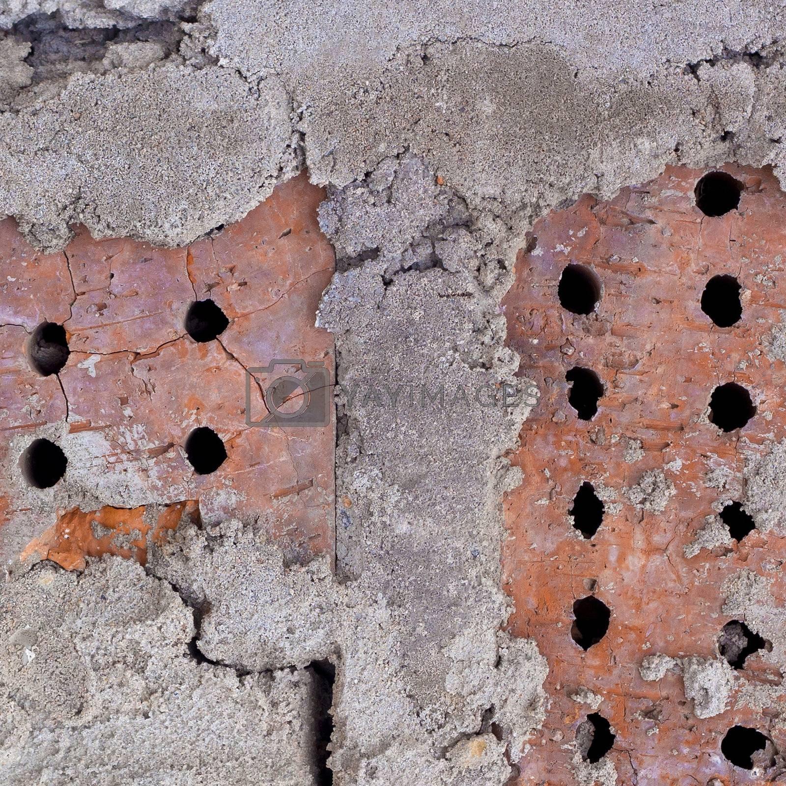 Texture: an old brick wall closeup