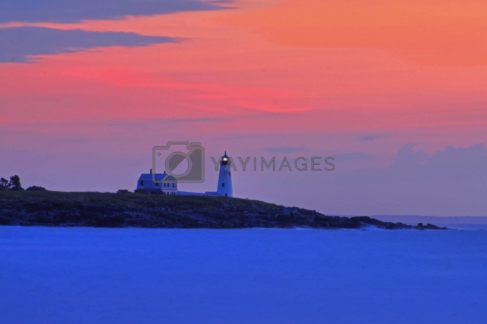 Wood Island Lighthouse at sunrise from East Point Sanctuary
