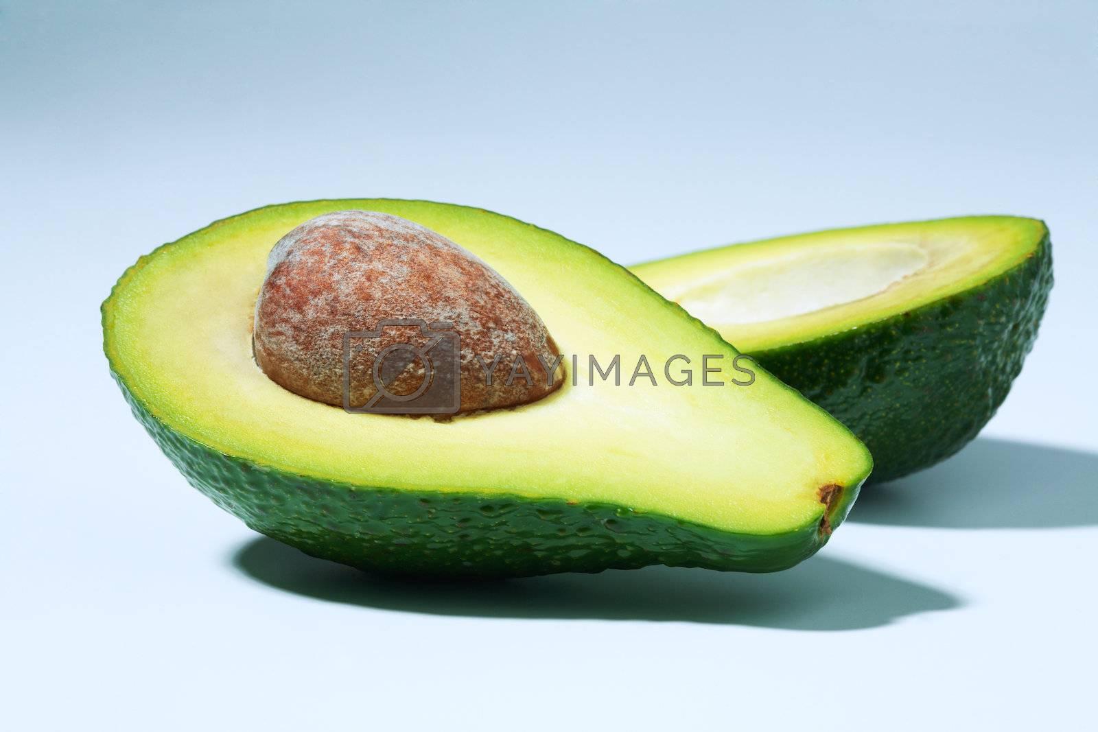 Close-up avocado sliced in half