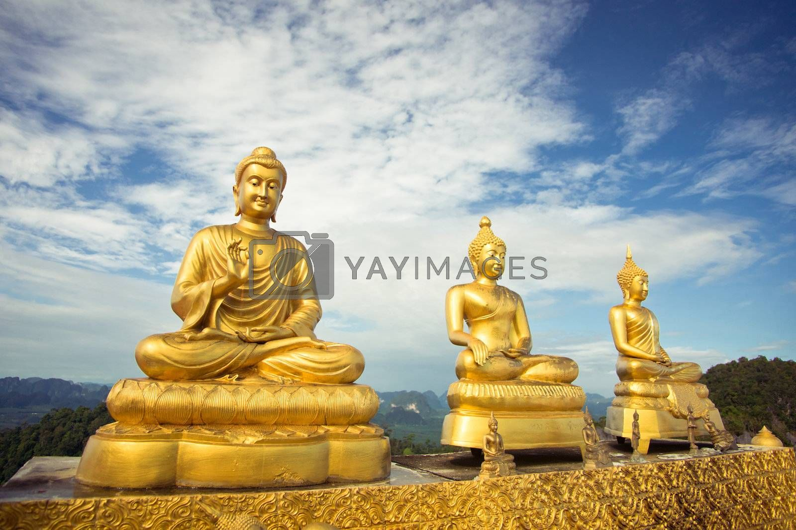 Buddhas on the hill temple in Krabi province