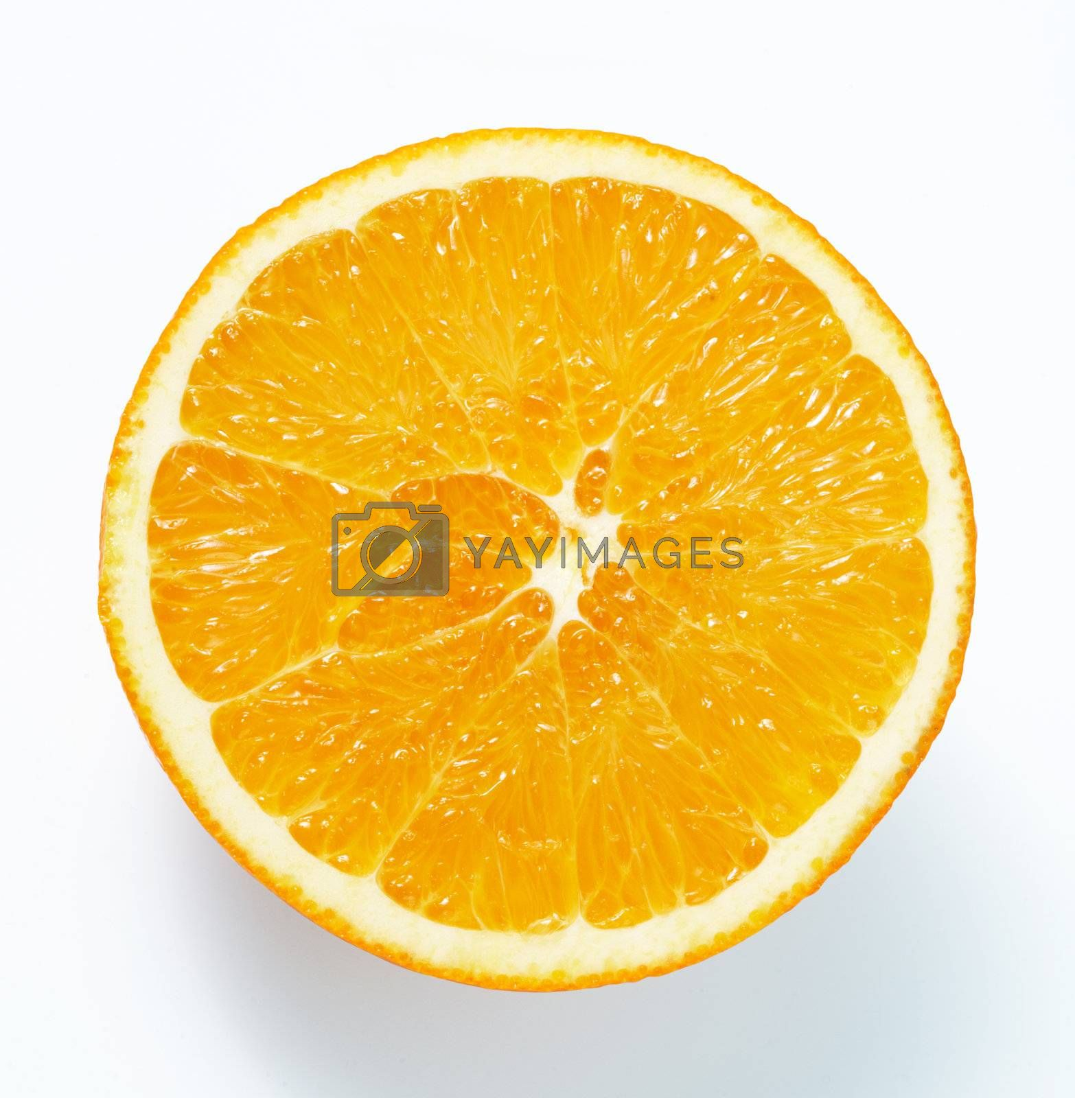 Orange cross section. The file includes a clipping path.  Professionally retouched high quality image.